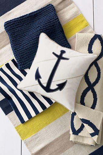Nautical - White, navy blue, and yellow