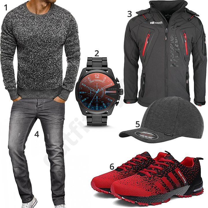 Grau-Rotes Herren-Outfit mit Geographical Norway Jacke (m0558 – Bea