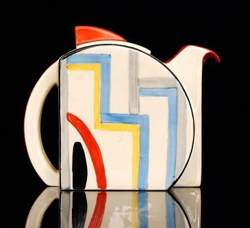 Tennis - A Stamford shape teapot circa 1930 hand painted in an abstract net and line design with red banding sold at Fieldings Auctioneers for £1,500 www.fieldingsauctioneers.co.uk