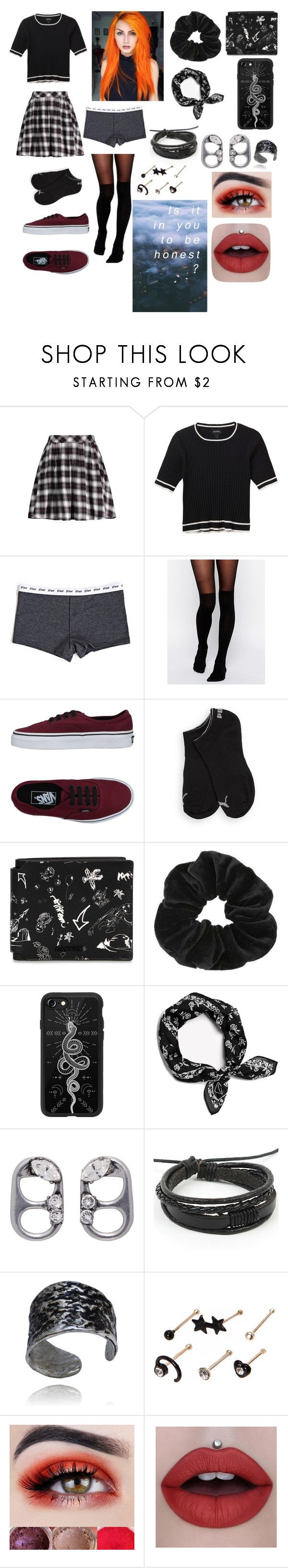 """""""Backseat Serenade"""" by sweetheart-the-moonbear ❤ liked on Polyvore featuring Monki, ASOS, Vans, Puma, Lanvin, Miss Selfridge, Casetify, Marc Jacobs and claire's"""