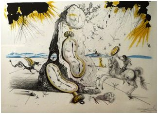 """Title: Cosmic Rays Resuscitating Soft Watches  Medium: Original Lithograph, Edition EA  Size: 25"""" x 36""""  Reference #: AF 65-3  Year: 1965"""