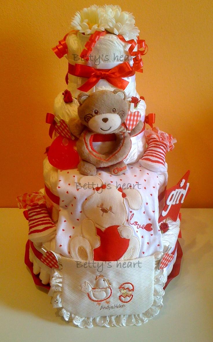 Torte di Pannolini Betty's heart - Diaper Cakes - http://www.facebook.com/tortedipannoliniBettysHeart