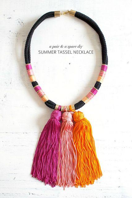 Summer tassel necklace and craft kit www.apairandasparediy.com