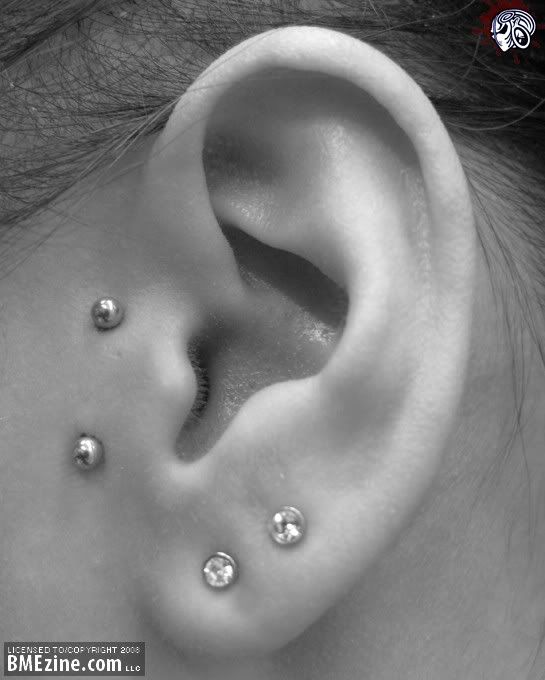 Vertical surface Tragus piercing. I'm so in love with this idea on both sides!