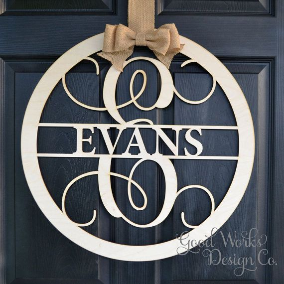 Circle Vine Script Wooden Monogram - Unpainted Monogram - Door Hanger - DIY - Wedding - Guest Book - Wooden Letter