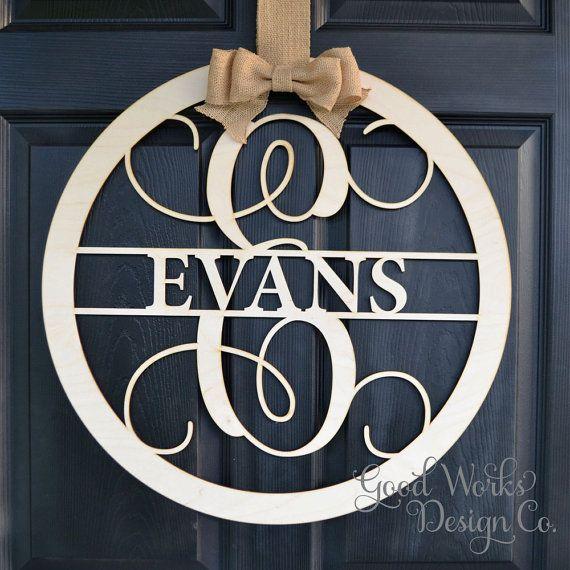 Circle Vine Script Wooden Monogram - Unpainted Monogram - Door Hanger - DIY - Wedding - Guest Book - Wooden Letter