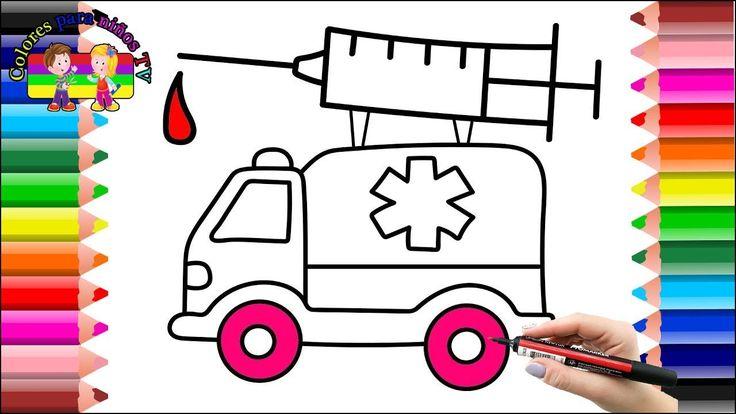 Cómo dibujar libro de colorear Coche de ambulancia - Dibujo para niños c...