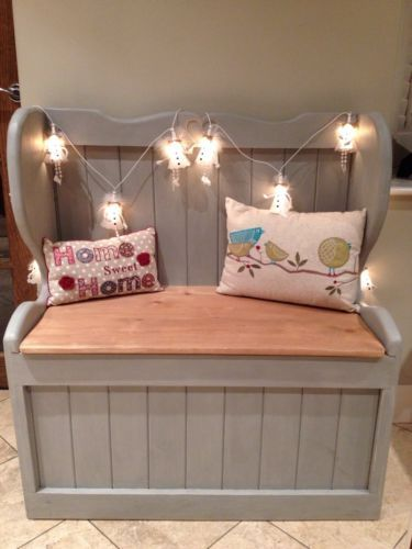 Church pew, Monks bench Seat Blanket box Pine Shabby Chic Storage box Rustic in Benches | eBay