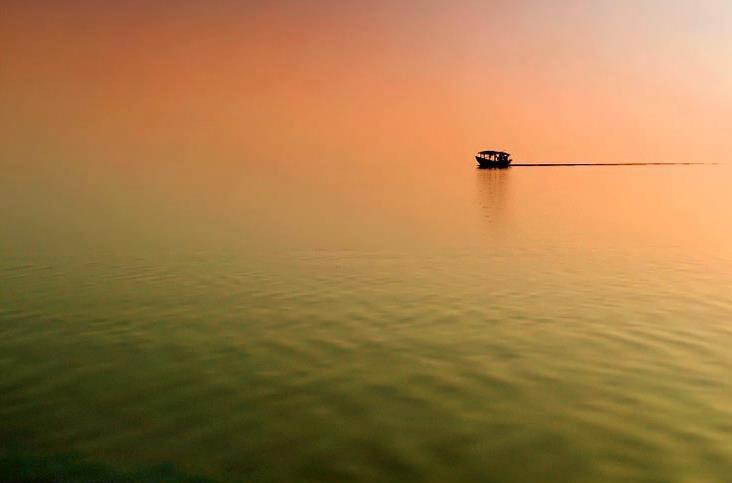India largest coastal lagoon and the second largest lagoon in the World - Chilka Lake or Chilika Lake, Orissa, India