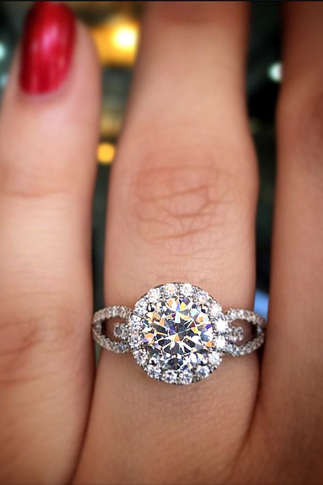 Halo Engagement Rings Or How To Get More Bling For Your Money ❤ See more: http://www.weddingforward.com/halo-engagement-rings/ #weddings