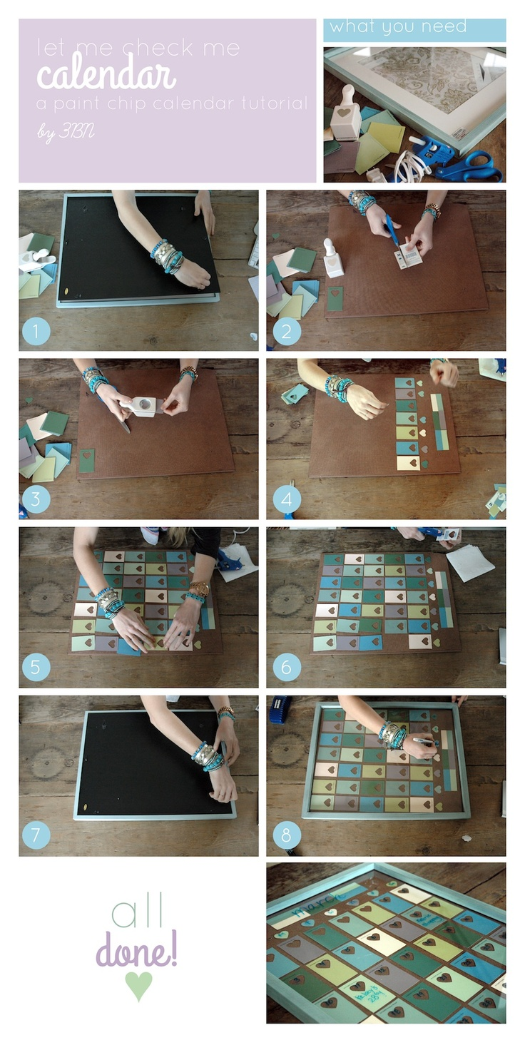 a paint chip calendar tutorial....totally going to do this...just gives me a reason to go to Hobby Lobby