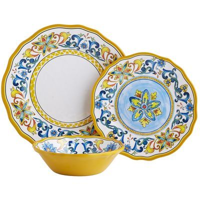 """Inspired by Italian art that dates back to the Renaissance, our shatter-resistant melamine plates will make your outdoor party feel like a Tuscan picnic. Alternating royal blue and yellow scrolls come full circle to give you a presentation that will have your dinner guests saying, <i>""""Bellissimo!""""</i>"""
