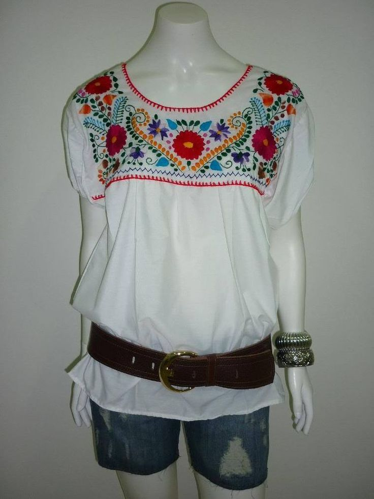 Details about white peasant puebla hand embroidered