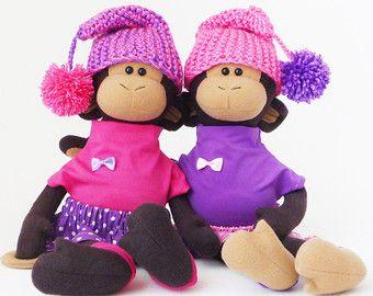 Stuffed monkey girl soft animals toys children friendly