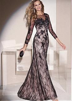 Chic Tulle & Lace Jewel Neckline Floor-length Sheath Mother Of The Bride Dress