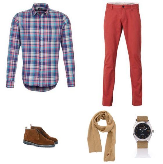 Ruitjes Outfit outfit - Vrijetijdskleding - Bij deze look draait het allemaal om het kleurrijke overhemd met ruitjes van Cheap Monday. Door het overhemd te combineren met de rode broek van Selected homme ontstaat een mooi en opvallend geheel. De schoenen van Floris van Bommel, het horloge van Superdry en de sjaal van Ralph Lauren maken de look compleet.