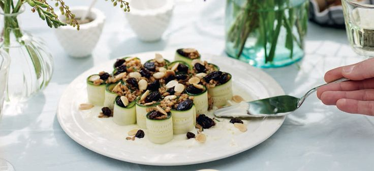 Stuffed Courgette Ribbons with Raisins, Farro & Marcona Almonds