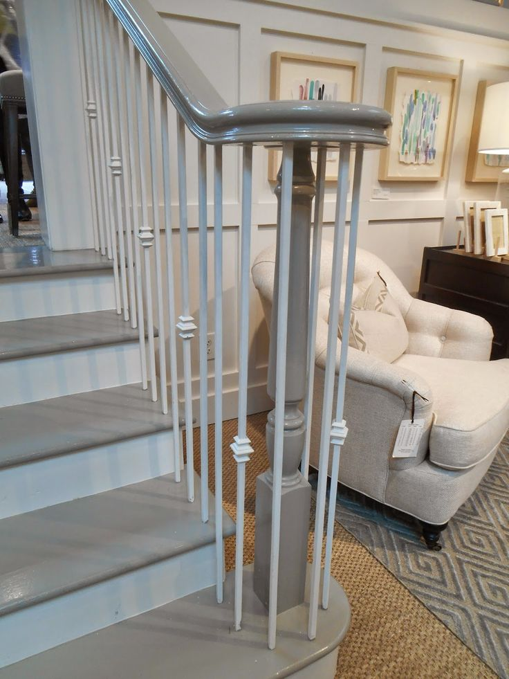 Glossy black banisters are a classic but what about a warm gray? It's so elegant and fresh. This banister is from Bungalow Classic in Atlanta and they told me it's a custom tinted Pratt & Lambert gray. They went with a Marine paint finish for the durability and shine. Beautiful.