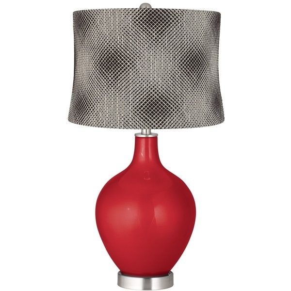 Sangria Metallic Black Pixels Shade Ovo Table Lamp ($150) ❤ liked on Polyvore featuring home, lighting, table lamps, red, black drum shade, drum light shade, red lights, drum lamp-shade and red shades