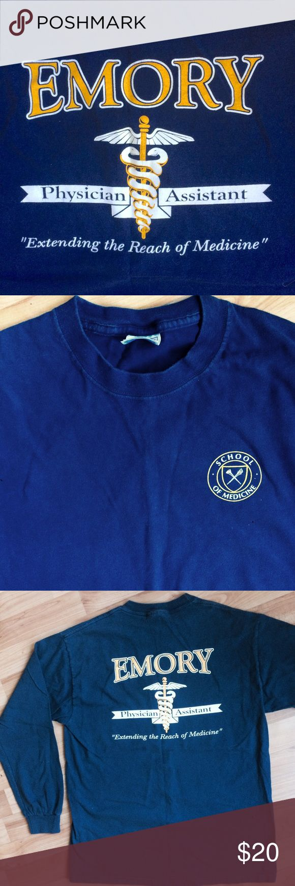 """Emory Univ PA long- sleeved tee Emory School of Medicine PA program unisex long sleeved navy tee, great used condition. Chest 20"""", length 26"""". 100% cotton Tops Tees - Long Sleeve"""