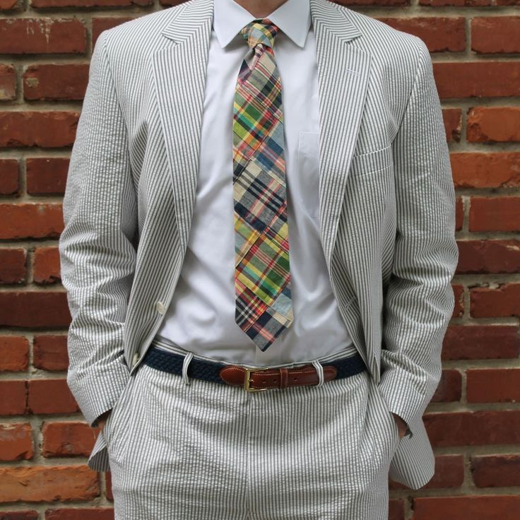 Two Button Seersucker Suit in Grey by Hardwick Clothes
