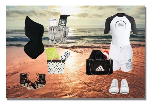 """""""Denise And Liam Going To The Beach"""" by secretshadow ❤ liked on Polyvore featuring Araks, Saks Fifth Avenue, PBteen, Quiksilver, Balmain, adidas Originals, Chanel and adidas"""