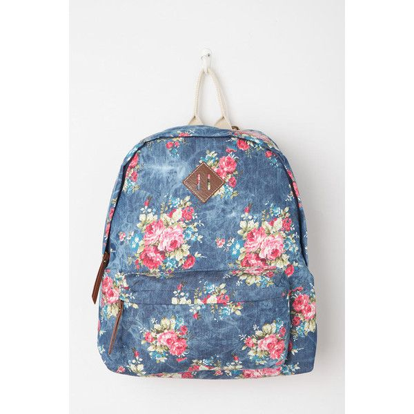 Steve Madden Floral Acid Patch Backpack (74 AUD) ❤ liked on Polyvore featuring bags, backpacks, floral-print backpacks, acid wash backpack, slouch bag, day pack backpack and floral bags