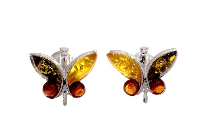 Multi coloured amber butterfly sterling silver ear studs