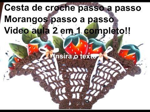 cesta de croche com morangos pintados a mão-Apostila risco num 39 - YouTube