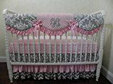 Nursery Bedding Baby Girl Crib Bedding Set Aubrianna Pink and Gray Crib Bedding Scalloped Crib Rail Cover Three Tiered Crib Skirt  Choose Your Pieces