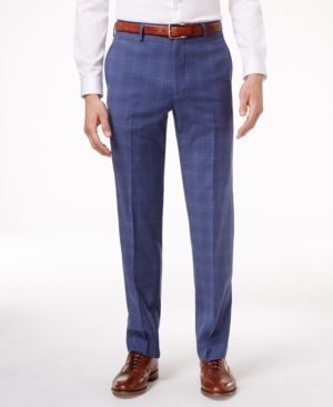 Tommy Hilfiger Men's Slim-Fit Medium Blue Plaid Stretch Dress Pants - Blue 36x32