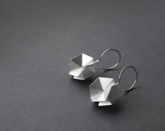 Items similar to Double Silver Earrings, Geometric Silver Earrings, Front and Back Silver Earrings, Stud Earrings, Mismatched Earrings, Statement Earrings on Etsy