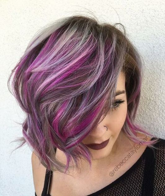 layered bob with highlighted bangs