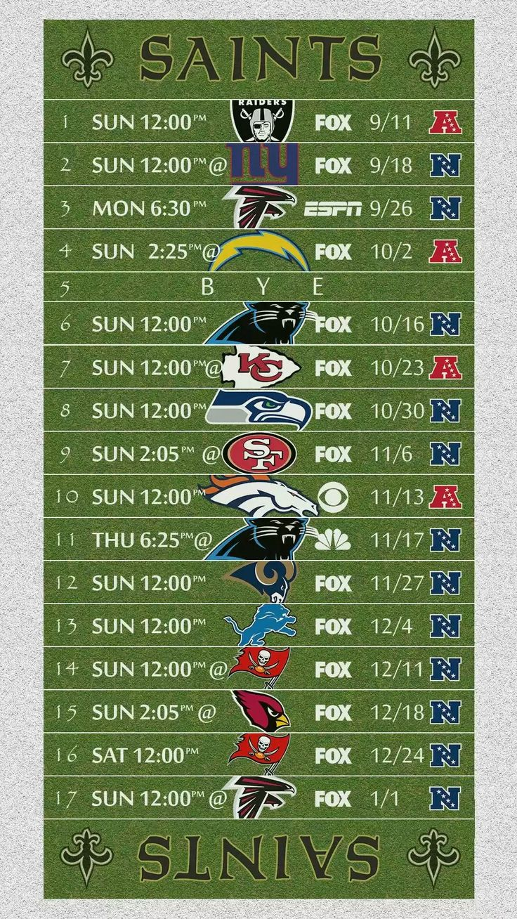 2016 New Orleans Saints NFL Football Schedule Wallpaper
