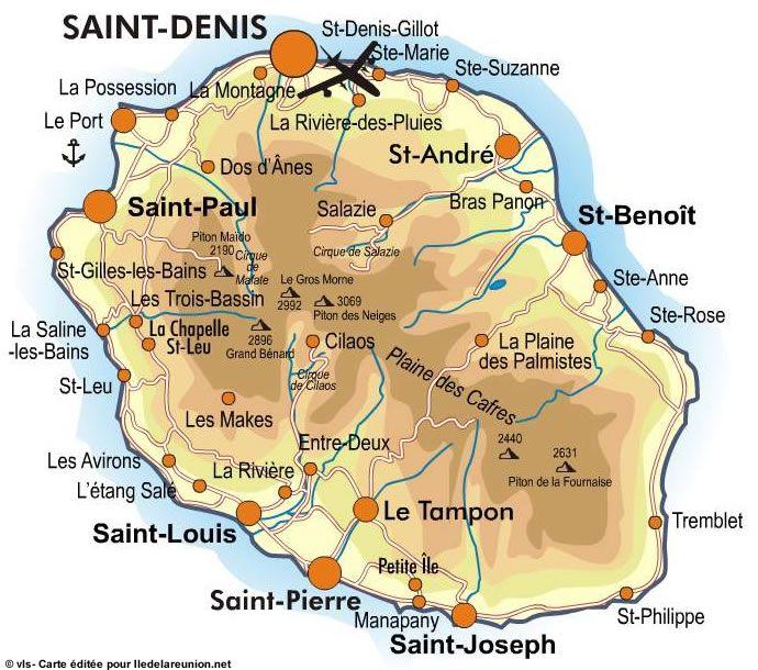Carte de la Reunion  ♥Saint-Pierre, ma naissance....  Le Tampon ... mon enfance... ♥ les Avirons ma mamie , mon papi ... ma tatie ♥