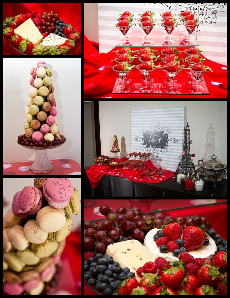 Paris themed station with Cheese, Macaron Tree, Crepes and Chocolate Fondue Martinis