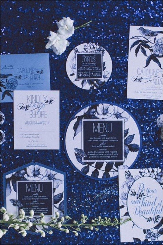 Black, white, and blue very chic wedding ideas