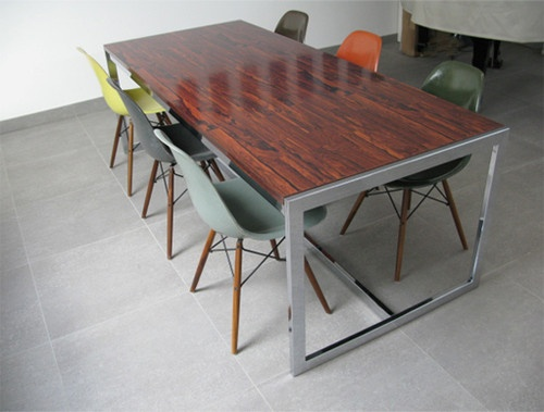 LARGE 1970s CHROME ROSEWOOD MELAMINE DINING TABLE Retro 60s 70s Merrow Heals