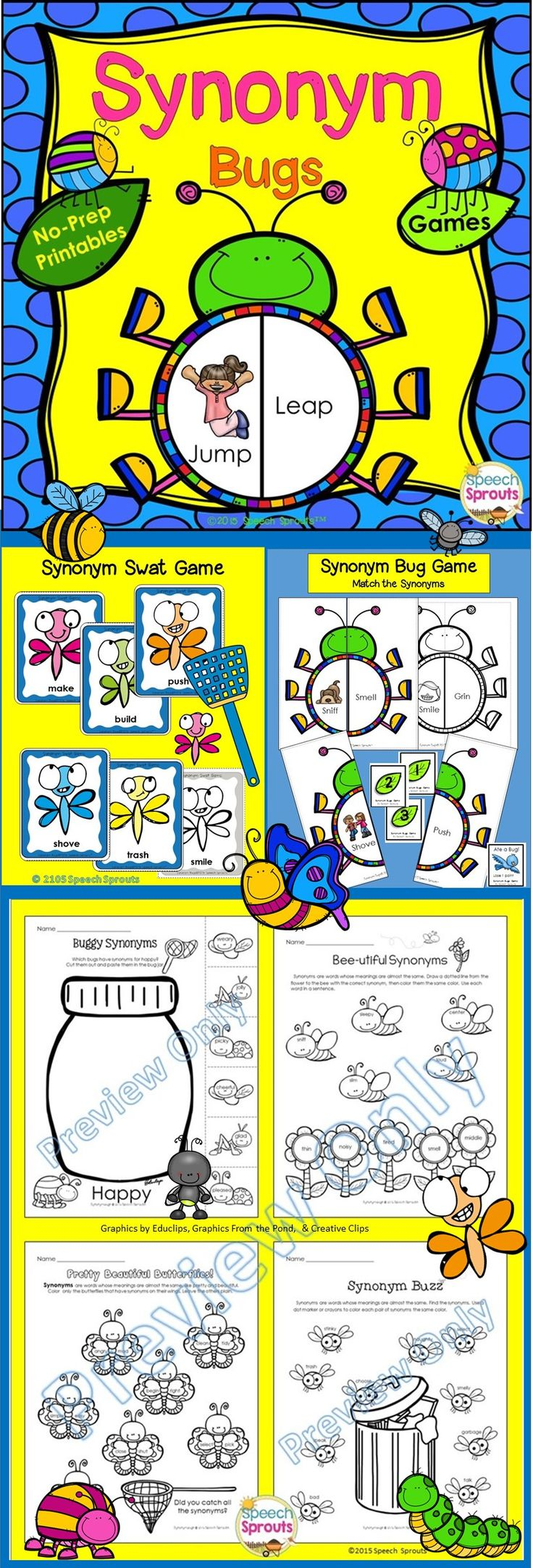 $ Have your kids buzzing about synonyms this spring! Grab a flyswatter and be the first to swat the matching synonyms as you build your bug collection in the Synonym Swat Game! See how many bugs you can build in Synonym Bugs! Grab the hole puncher and eat through some leaves as you find synonyms in Synonym Crunch! 15 no-prep interactive activities for your classroom/ speech therapy room, or home practice