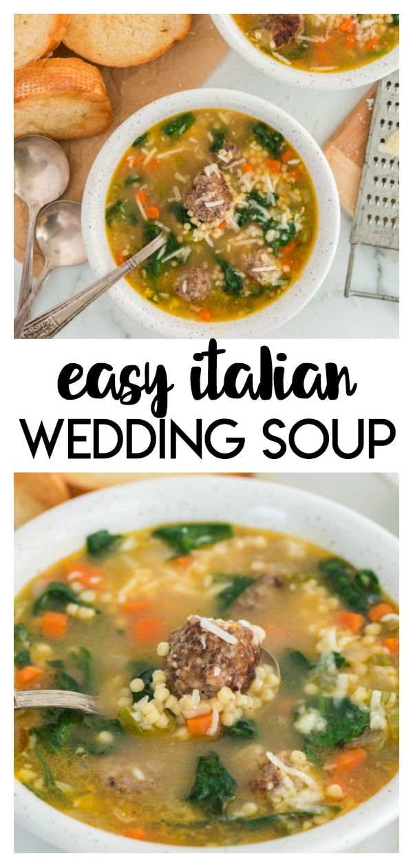 Easy Italian Wedding Soup: this recipe has tiny meatballs, veggies, and small pasta in a savory broth that is perfect fo…
