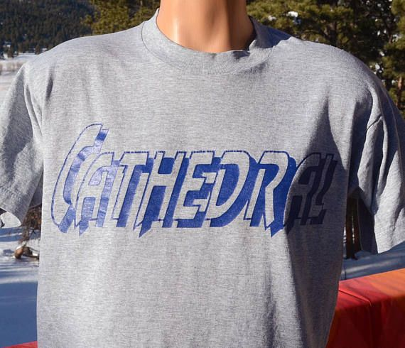 vintage 80s t-shirt CATHEDRAL high school athletic gray soft