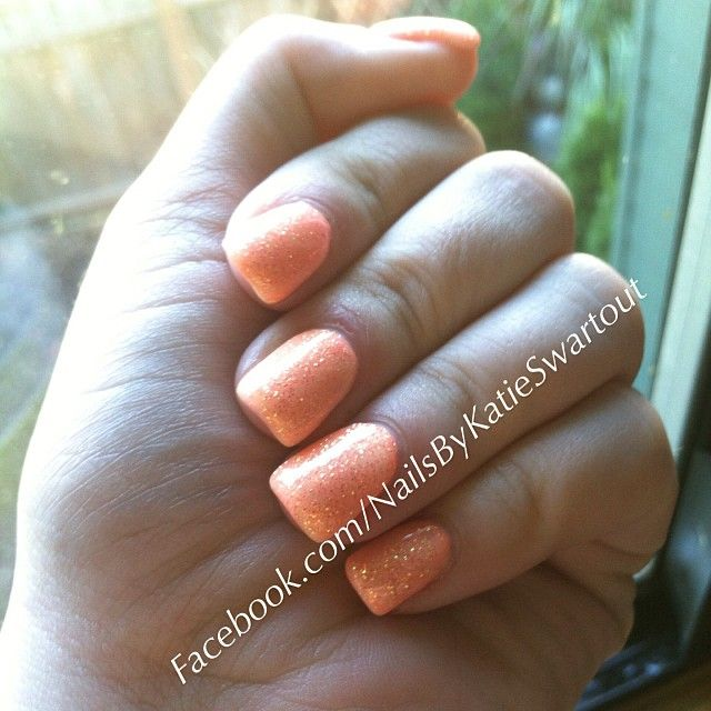 Light Elegance Pastel Orange And Orange Crush Glitter Gel Nails Nails By Katie Dutra