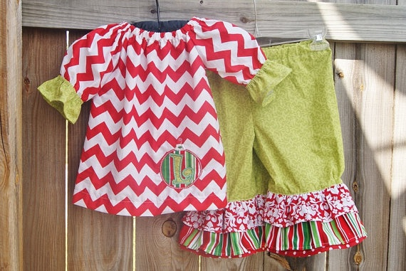 Christmas Outfit  Red Chevron TOP Dress Green by apPEARelTREE, $59.99