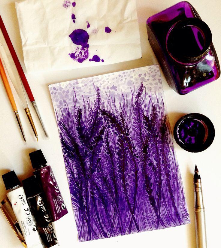 """акварель, чернило+перо """"Lavender view"""" (эскиз для росписи стен) - watercolors, fountain pen (sketch for painting on the wall❄ Репродукция (печать на всех поверхностях и материалах). Заказывайте, с большим удовольствием реализую все ваши творческие пожелания и идеи, также из категории """"невозможных"""" и """"нестандарт""""  (РИСУЮ НА ЗАКАЗ, эскизы, иллюстрации, художественные картины, открытки, приглашения, визитки, постеры, роспись стен, роспись тела и многое другое) ЖДУ ВАШИХ ПРЕДЛОЖЕНИЙ!!! Waiting"""