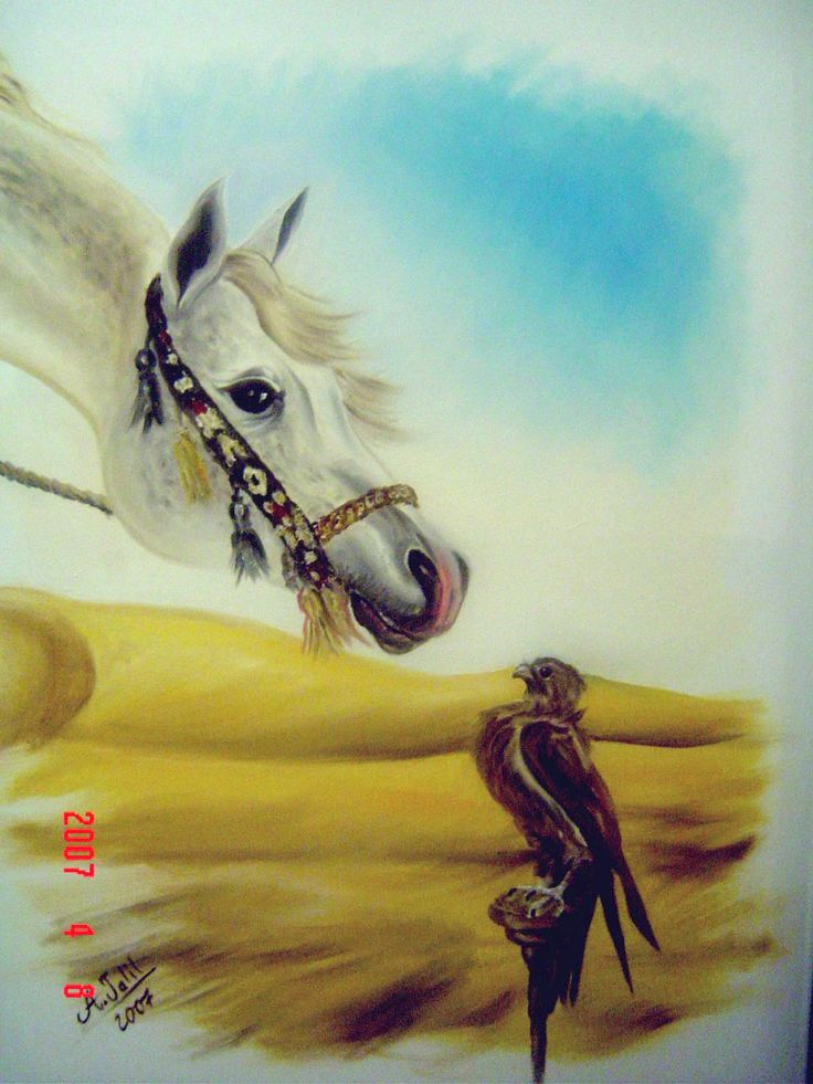 One of my paints: Nature's conversation - Horse to Falcon. 2007. Oil on Canvas.
