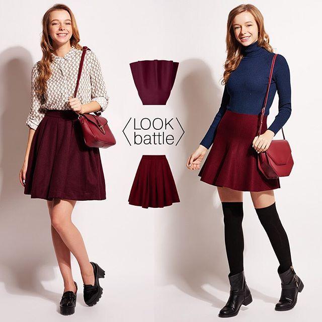 look battle! в тренде пышные юбки до середины бедра. с ними можно собирать самые разные луки, выбери тот, который больше нравится тебе: 1 со светлой блузкой 2 с синим джемпером #befree #fashion #dreamerswelcome #look #lookbattle #луки
