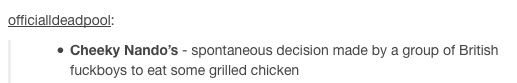 cheeky nando's definition-@Nutellaandpizza so i was sort of right about the cheeky nando's ahahaha