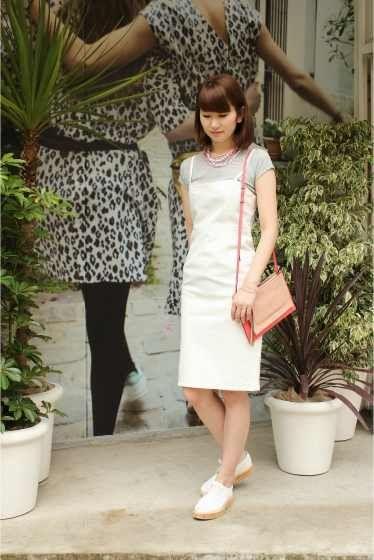 ◆ホワイトデニムベアトップドレス