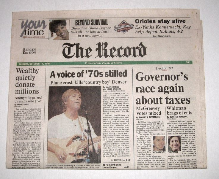 Historic Newspaper Headline John Denver Is Dead October 14, 1997 NY Times & Post in Collectables, Paper & Ephemera, Newspapers | eBay