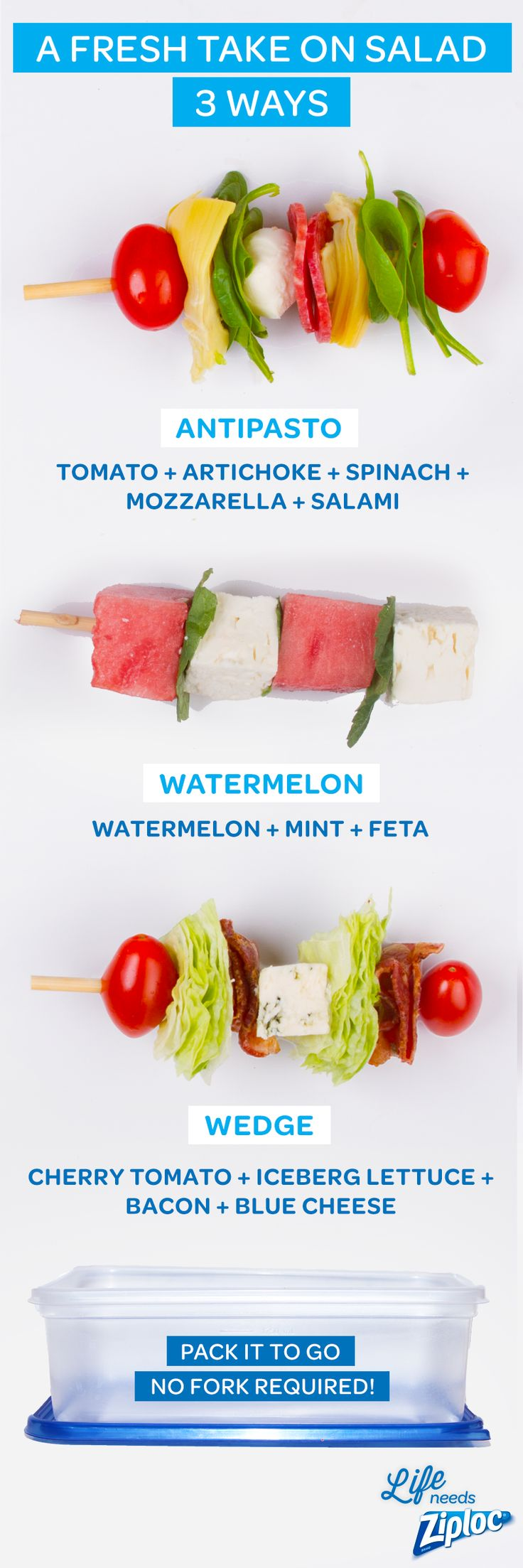 These healthy salad recipes get stacked to go on skewers and packed in a Ziploc® container. Antipasto, watermelon feta mint and wedge salad with bacon and blue cheese are simple, easy ways to make fresh finger food for a party or picnic. Bring these simple salad kabobs to a Fourth of July or Memorial Day potluck this summer.